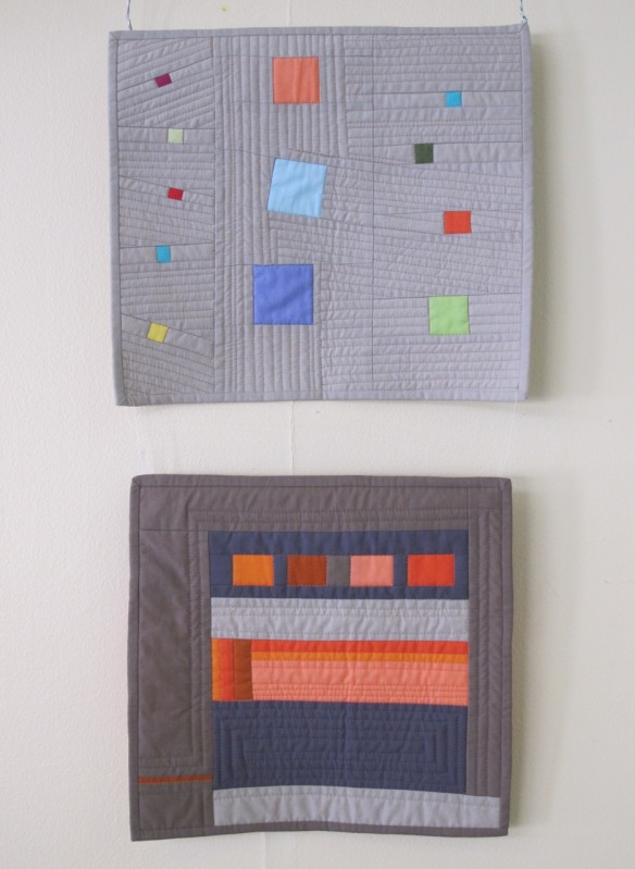 Dancing Squares (above) and Color Study in Orange by Fern Royce