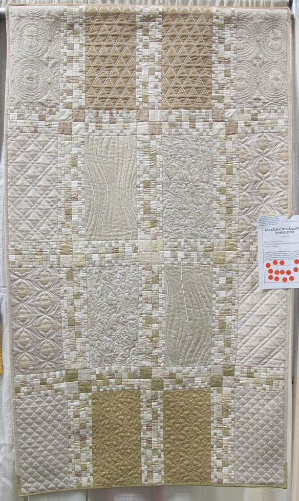 LIke a Prayer Wall- A meditation for world peace by Leonard Pinna, quilted by Rebecca Rohrkaste and Sue Fox