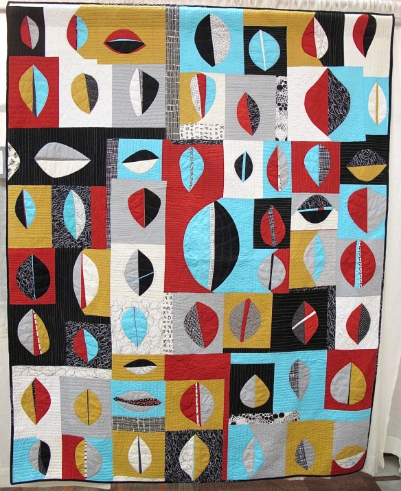 Modern Re-Leaf by Bee Modern Members, quilted by Claudia Shearer