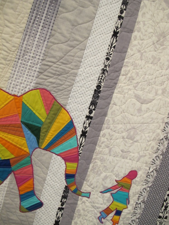 Elephant and I , pieced by Jennifer Sampou, quilted by Jocelyn Marzan